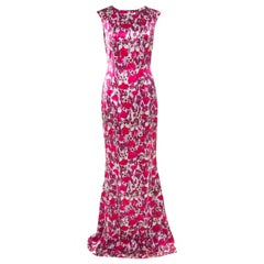 Mary Katrantzou Fuchsia Pink Bejeweled Feather Printed Silk Satin Evening Gown M