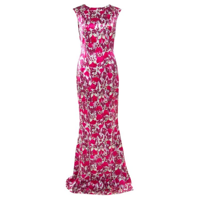 Mary Katrantzou Fuchsia Pink Bejeweled Feather Printed Silk Satin Evening Gown M For Sale