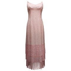 Pierre Balmain Haute Couture beautiful pink evening gown with fringes
