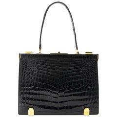 Delvaux 'Mon Grand Bonheur' Croco Top Handle Bag