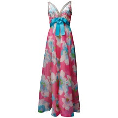 Jean Patou lovely long taffeta summer dress with floral pattern