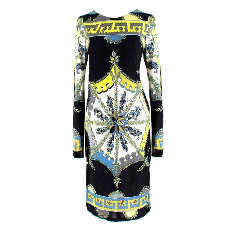 Emilio Pucci Black Abstract Pattern Dress US 6 For Sale