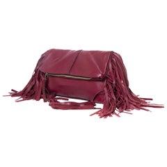 Mina Vatter Red Leather Fringe Clutch