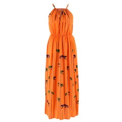 MSGM Orange Striped Tiger Print Long Silk Dress US 4