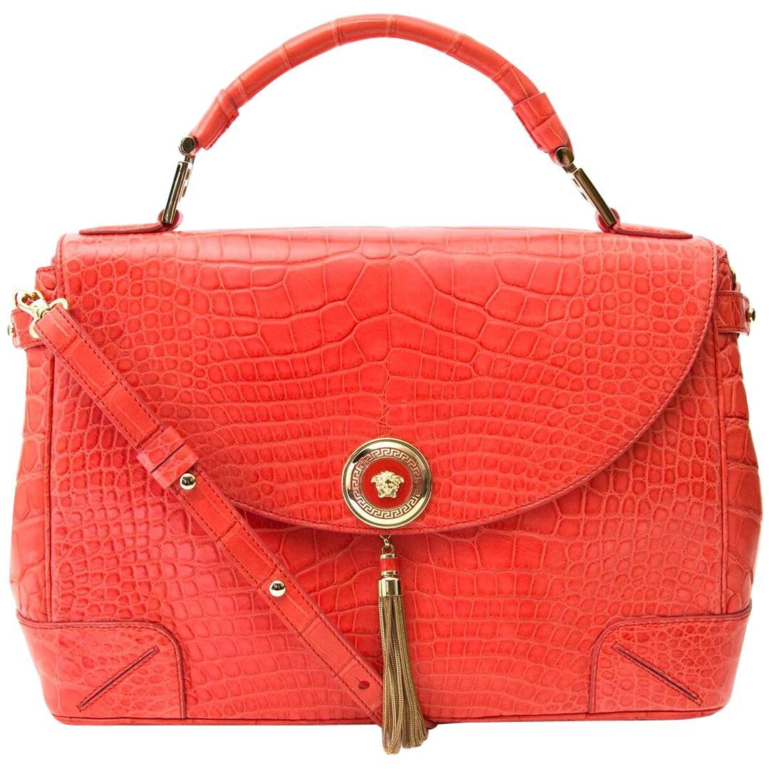 Versace Orange Croco Flap Bag