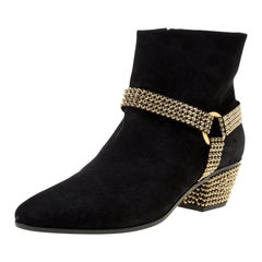 René Caovilla Black Suede Crystal Embellished Pointed Toe Ankle Boots Size 40