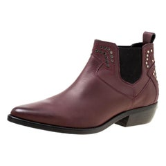 Zadig and Voltaire Burgundy Leather Thylana Studded Ankle Boots Size 41