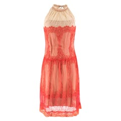 Alberta Ferretti Papaya-red Lace Dress US 6