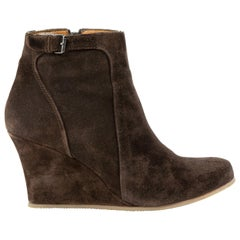 Lanvin Suede Wedge Boots - Size 38.5
