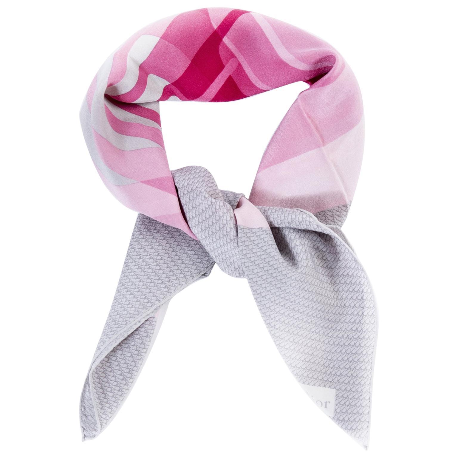 Christian Dior Pink And Grey Silk Scarf