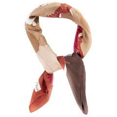 Christian Dior Rust Flower Silk Scarf