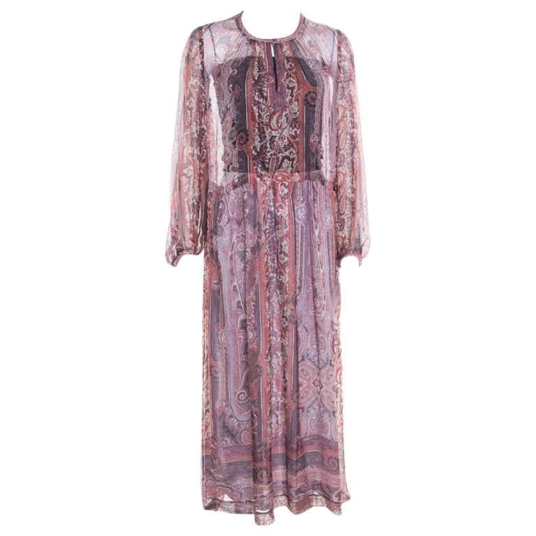 feb4917fa63 Isabel Marant Paisley Printed Sheer Silk Gauze Samuel Midi Dress M For Sale  at 1stdibs