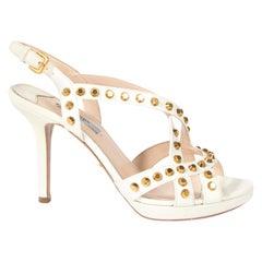 Prada White Studded Saffiano Platform Sandals - Size 38,5