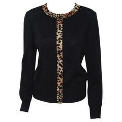 St. John Black Knit Cardigan W/ Leopard Print Trim