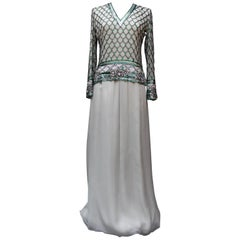 Christian Dior Haute Couture gorgeous set composed of grey chiffon and beads