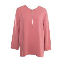 Stella McCartney Pink Crepe Zip Detail Long Sleeve Arlesa Blouse M