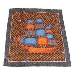 Hermes Silk Carre Scarf 'Bateau Fleuri'- black/grey/orange/brown/blue
