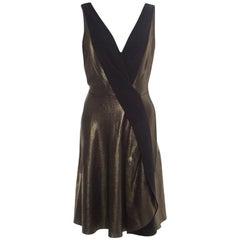 Temperley London Matte Gold Edom Lame V Neck Sleeveless Dress L