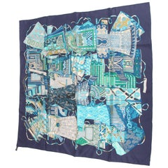 Hermes Silk Carre Scarf 'Voyage en Étoffes'- blue/turquoise/green/white
