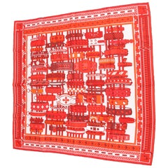 Hermes Silk Carre Scarf 'Colliers de Chiens' - red/orange/white