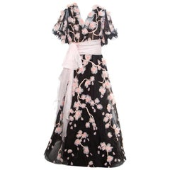 Marchesa Black Floral Applique Embroidered Tulle Cherry Blossom Ball Gown L