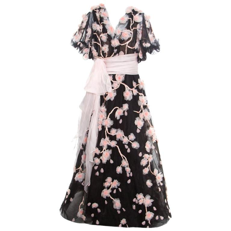 Marchesa Black Floral Applique Embroidered Tulle Cherry