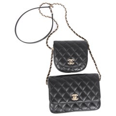 New! Chanel Quilted Side Packs 2019 - black/silver