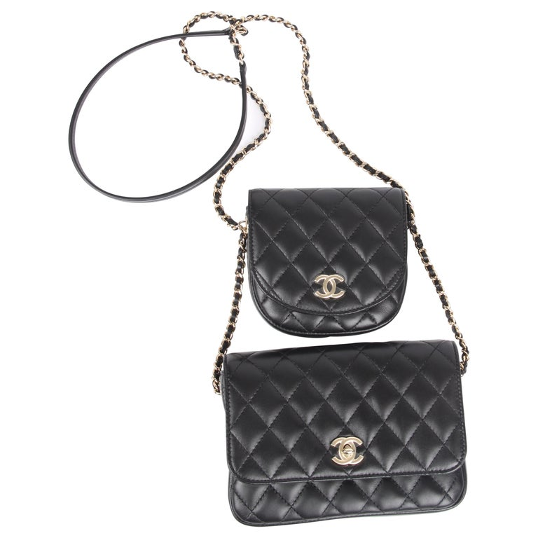 5801556bfabb5a New! Chanel Quilted Side Packs 2019 - black/silver For Sale at 1stdibs