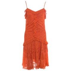 Dior Orange Perforated Lurex Knit Ruffled Sleeveless Dress L