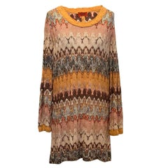 Missoni brown pattern dress and scarf US 6