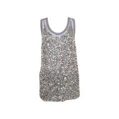 Stella McCartney Grey Silk Cotton Sequin Embellished Tank Top S