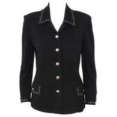 St. John Black Knit Silver Tone Stud Decorated Collar Jacket