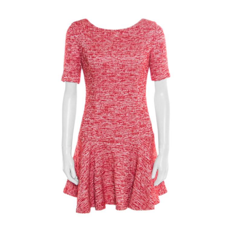 412f222681e2 Alice + Olivia Red and White Textured Knit Flounce Dress M For Sale ...