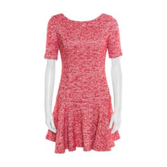 Alice + Olivia Red and White Textured Knit Flounce Dress M