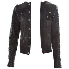 Philipp Plein Illegal Fight Club Black Textured Leather and Denim Johnny's Jacke