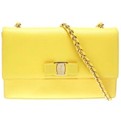 Salvatore Ferragamo Yellow Leather Ginny Shoulder Bag