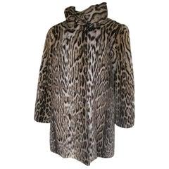 vintage panther fur print coat, 1940s