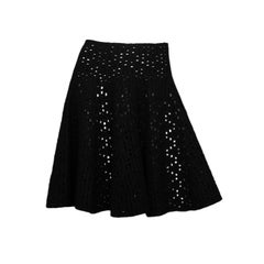 Alaia Black Wool Eyelet Flare Skirt Sz IT 42