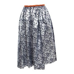 Preen by Thornton Bregazzi Silver and Navy Blue Floral Jacquard Midi Skirt S