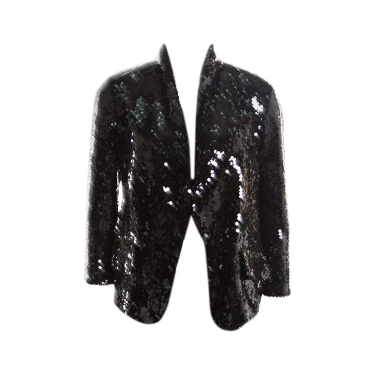 501d05a2f46 Yves Saint Laurent Black Sequin Paillette Embellished Single Button Blazer  S For Sale