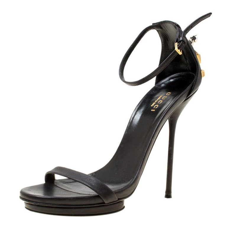 785bee3c5 Gucci Black Leather Studded Ankle Strap Platform Sandals Size 37 For Sale