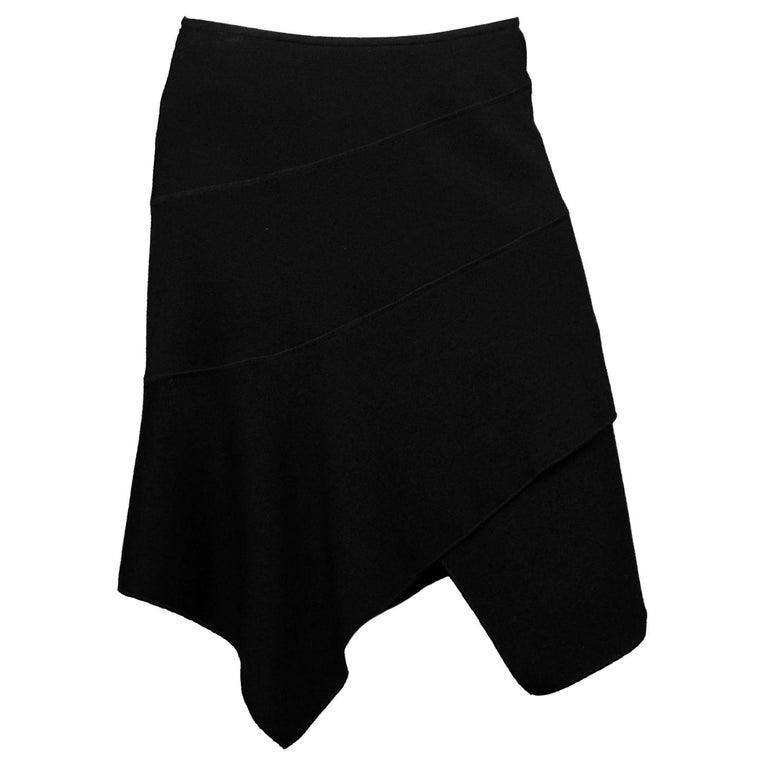 Alaia Black Wool Asymmetrical Skirt Sz Large For Sale