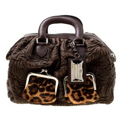 Dolce and Gabbana Brown Textured Leather Miss Curly Bag