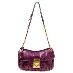 Miu Miu Purple Matelasse Leather Shoulder Bag