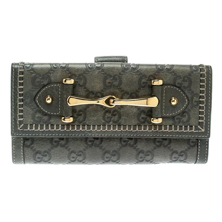 71371d8dd65 Gucci Grey Guccissima Leather Continental Wallet For Sale at 1stdibs