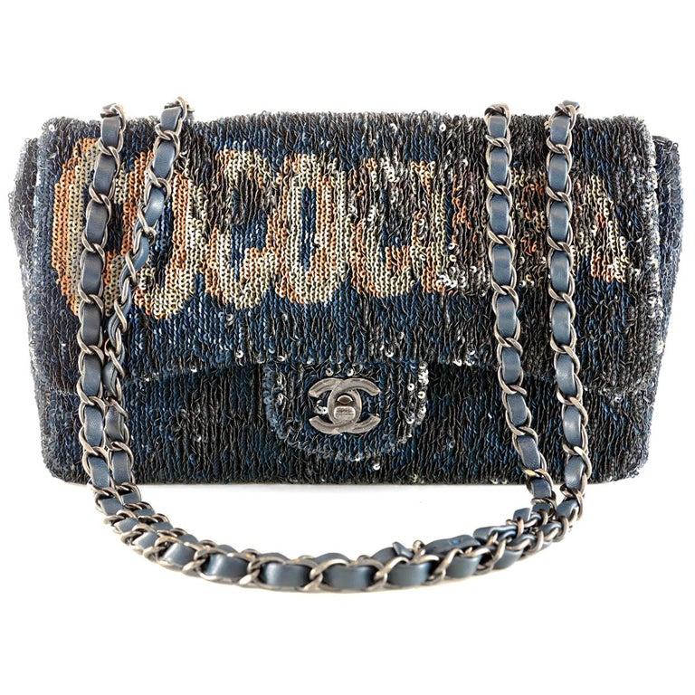 Chanel Blue COCO CUBA Sequins Flap Bag For Sale