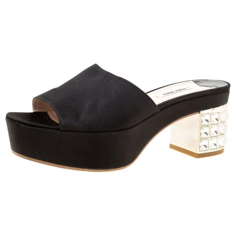 225ba20603 Miu Miu Black Satin Crystal Embellished Block Heel Slide Sandals Size 39  For Sale