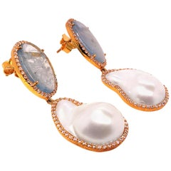 Large Sparkling Aquamarine and Pearl Dangle Earrings