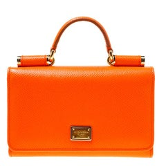 Dolce and Gabbana Orange Leather Miss Sicily Von Wallet on Chain