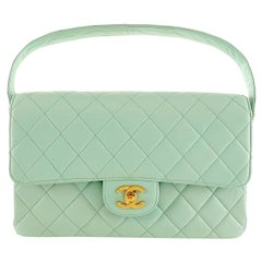 Chanel Mint Green Leather Double Sided Classic Bag